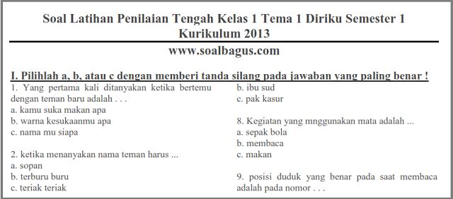 Soal Pts Tematik Kelas 1 Tema 1 Semester 1 Ganjil Kurikulum 2013