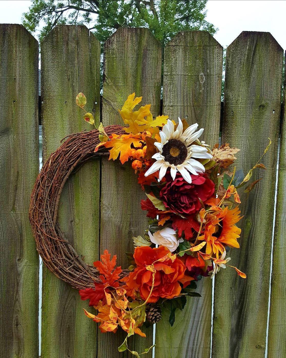 Photo of Floral Grapevine Wreath, Grapevine Wreath, Fall Flowers, Farmhouse, Everyday Wreath, Handmade, Office Decor, Flower Decor, Custom, Sunflower