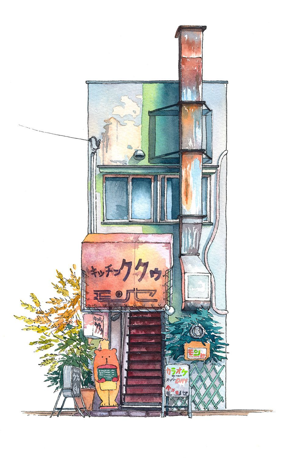 """Tokyo Storefront series #09 (Kitchen Kuku) A new piece in my """"Tokyo Storefront"""" watercolour illustration series. This shop is a lot newer and a lot shabbier than most on the pictures that I did in the series but I find this kind of shops all around..."""