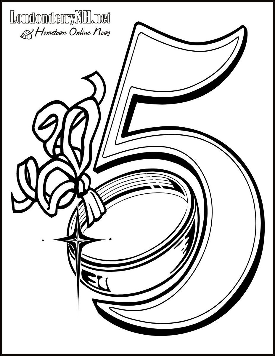 05 golden rings free printable 12 days of christmas coloring pages - Christmas Coloring Book Pages