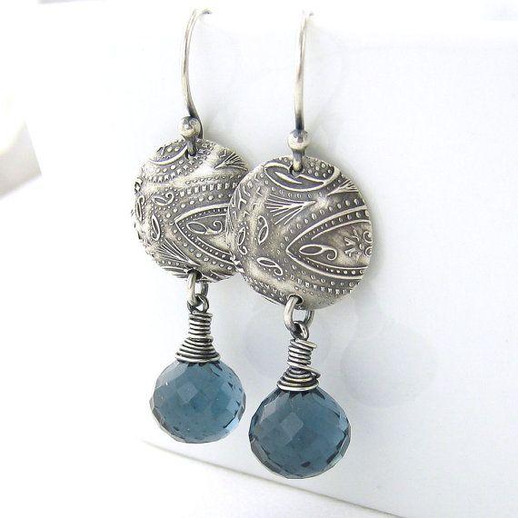 London Blue Quartz Earrings Sterling Silver by JenniferCasady, $59.00