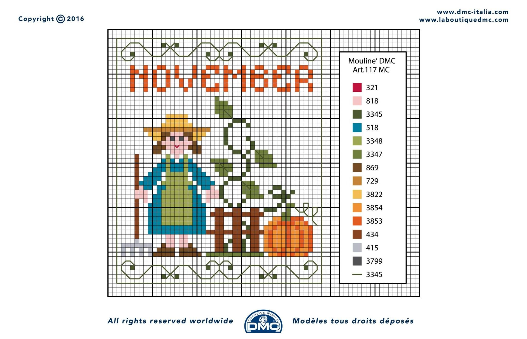 November - Calendario Perpetuo | Punto cruz | Pinterest | Calendario ...