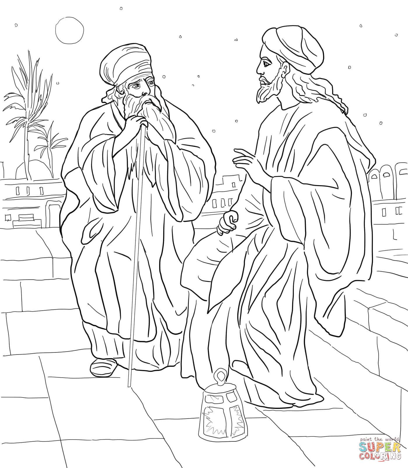Jesus And Nicodemus Coloring Page Jpg 1398 1600 Bible Coloring Pages Coloring Pages Jesus Coloring Pages