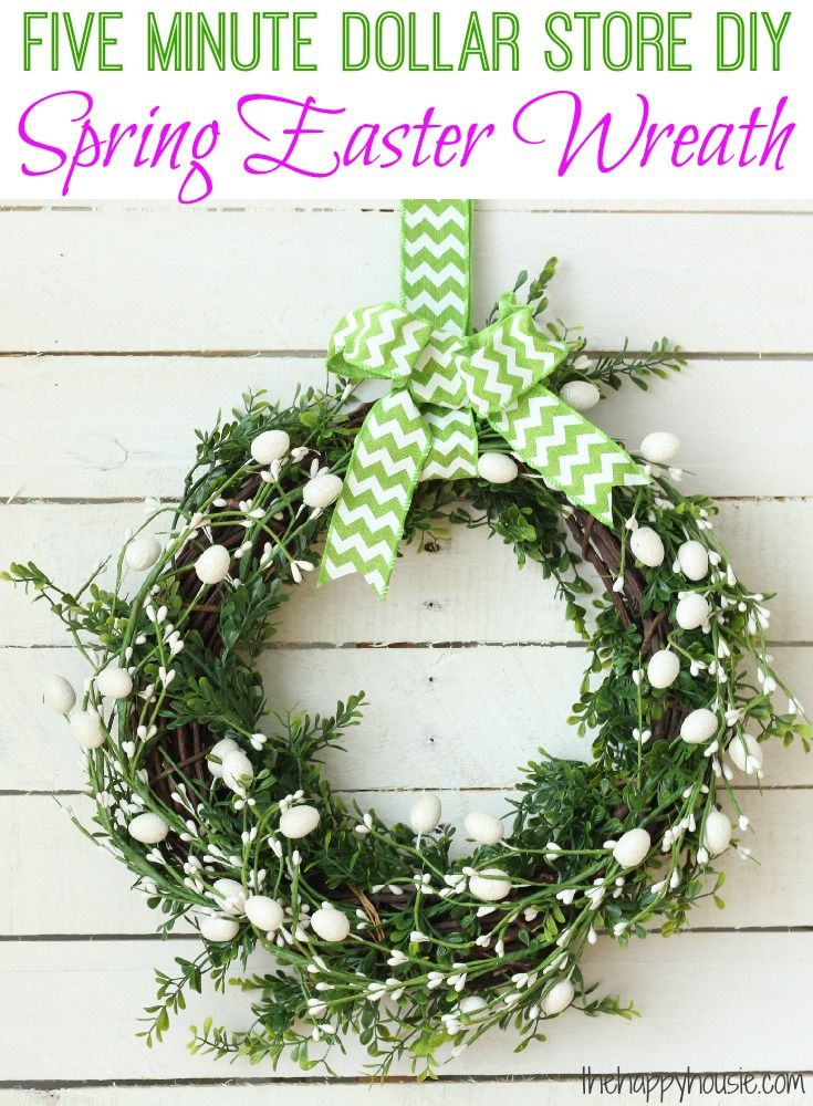 Five Minute Dollar Store DIY Spring Easter Wreath | Dollar stores ...