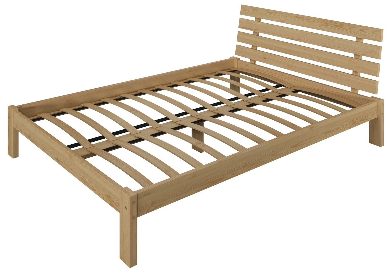 łóżko Szare 140x200 Drewniane Wysoki Zagłówek F4 7071254434