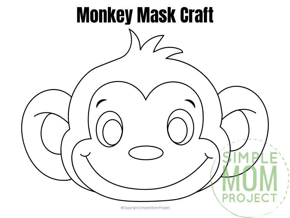 Free Printable Monkey Mask Template Monkey Coloring Pages Monkey Mask Animal Mask Templates