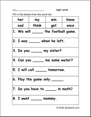Worksheet: Sight Word Cloze (primary) - preview 1 | Sight ...