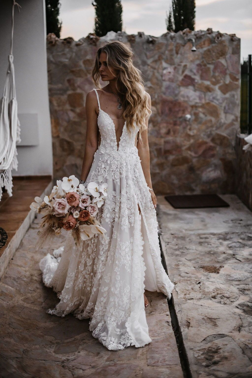 Photo of All-White Wedding – Textured Bridal Dresses – Galia Lahav