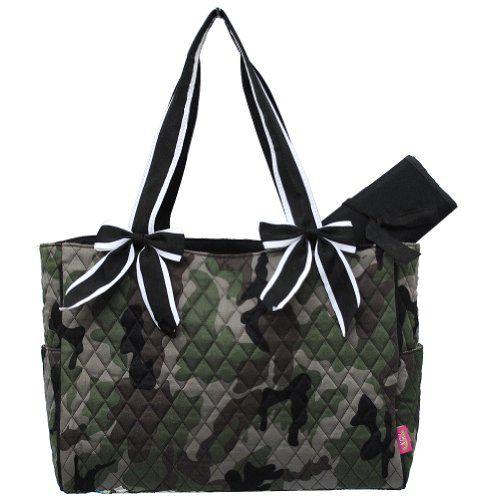 Camo Quilted W White Stripe Diaper Bag Black Camo
