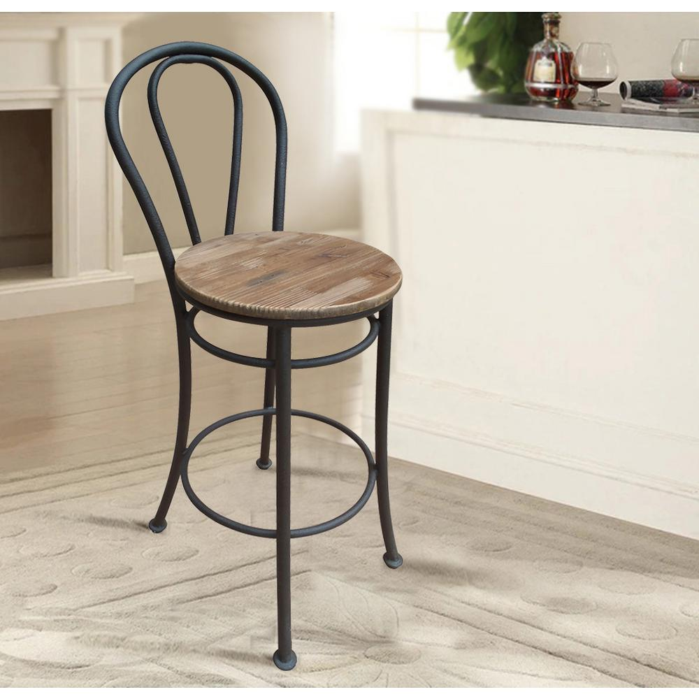 Home Accents Alliance French Cafe Reclaimed Wood Bar Chair Set Of 2 Black
