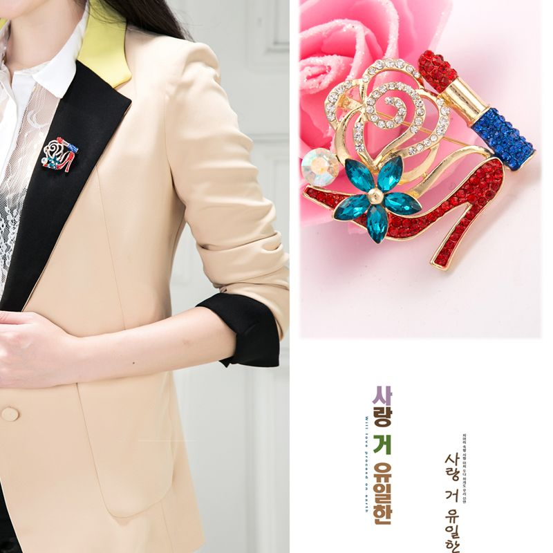 2017 Fashion New Crystal Lipstick High Heels Shape Brooch For Women Dress  Decorative Pin For Women