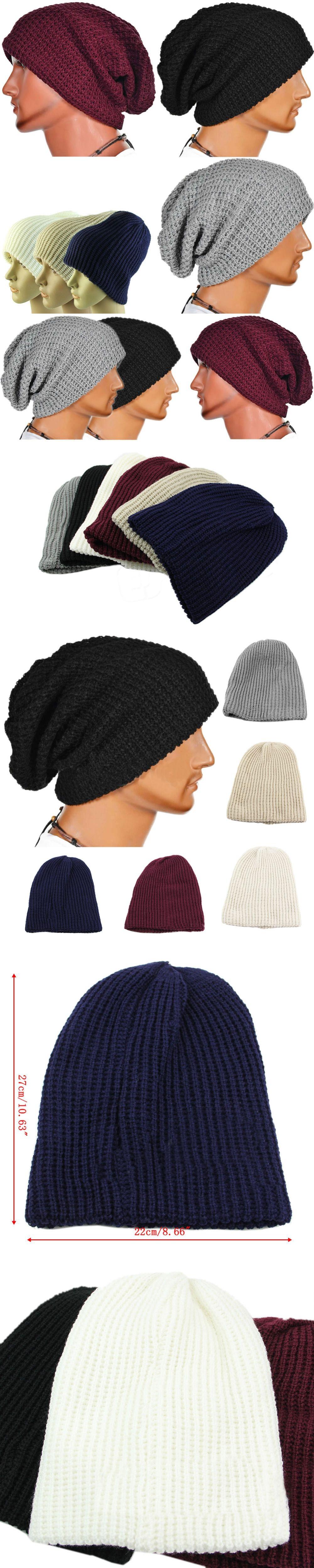 Hot Selling 2017 Chic Men Women Warm Winter Knitted Beanies Skull Bandana  Slouchy Oversized Cap Hip 089d33d29b51