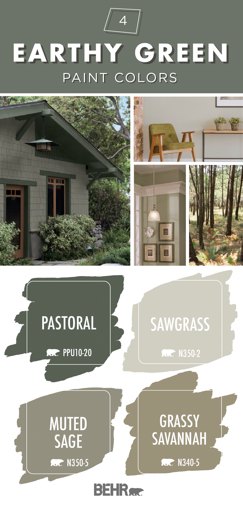 Earthy Greens Exterior Paint Colors For House Green Exterior