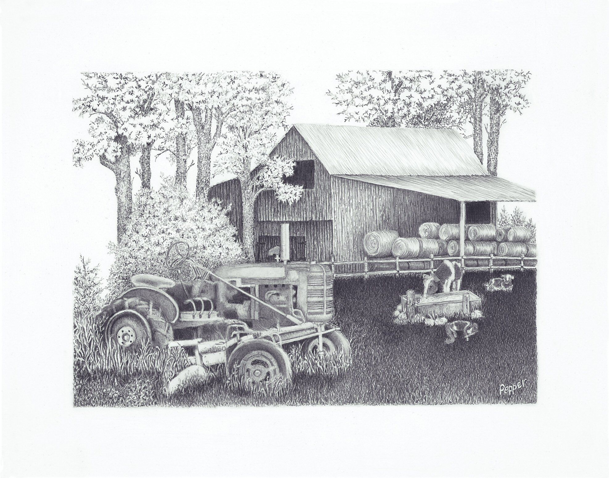Drawing Of An Old Barn And Tractor In Pencil My Drawings