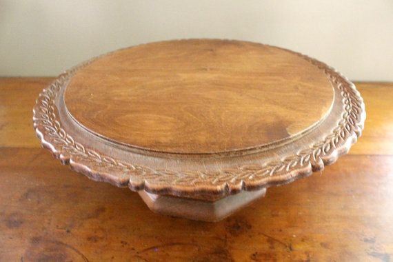 Vintage Wooden Cake Stand  Wood Cake Plate  by EastMainVintage