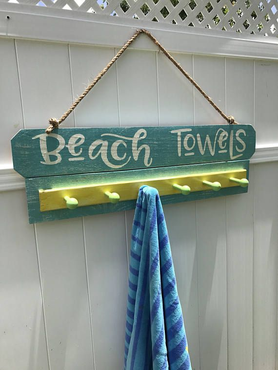 Beach Towel Rack For Swimming Pool Décor Or House Decor Is More Then Just A Backyard Sign Decorate Your Area With This Hand Painted Rustic