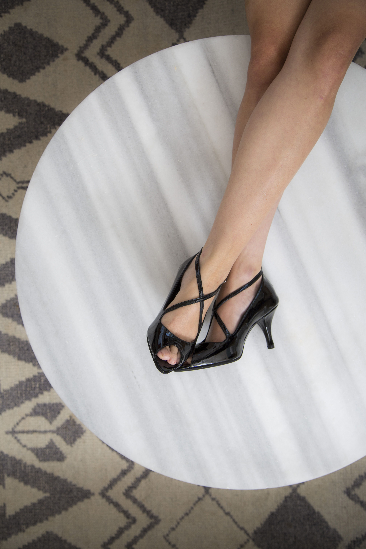 Leather Black Patent Peep Toe Mid Heel