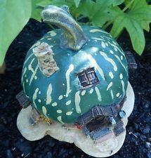 Fairy Garden Green Pumpkin Mini Faery House for Yard or Home Decor Figurine