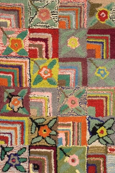 fun multicolored rose hooked rug. adds color and texture to any room.
