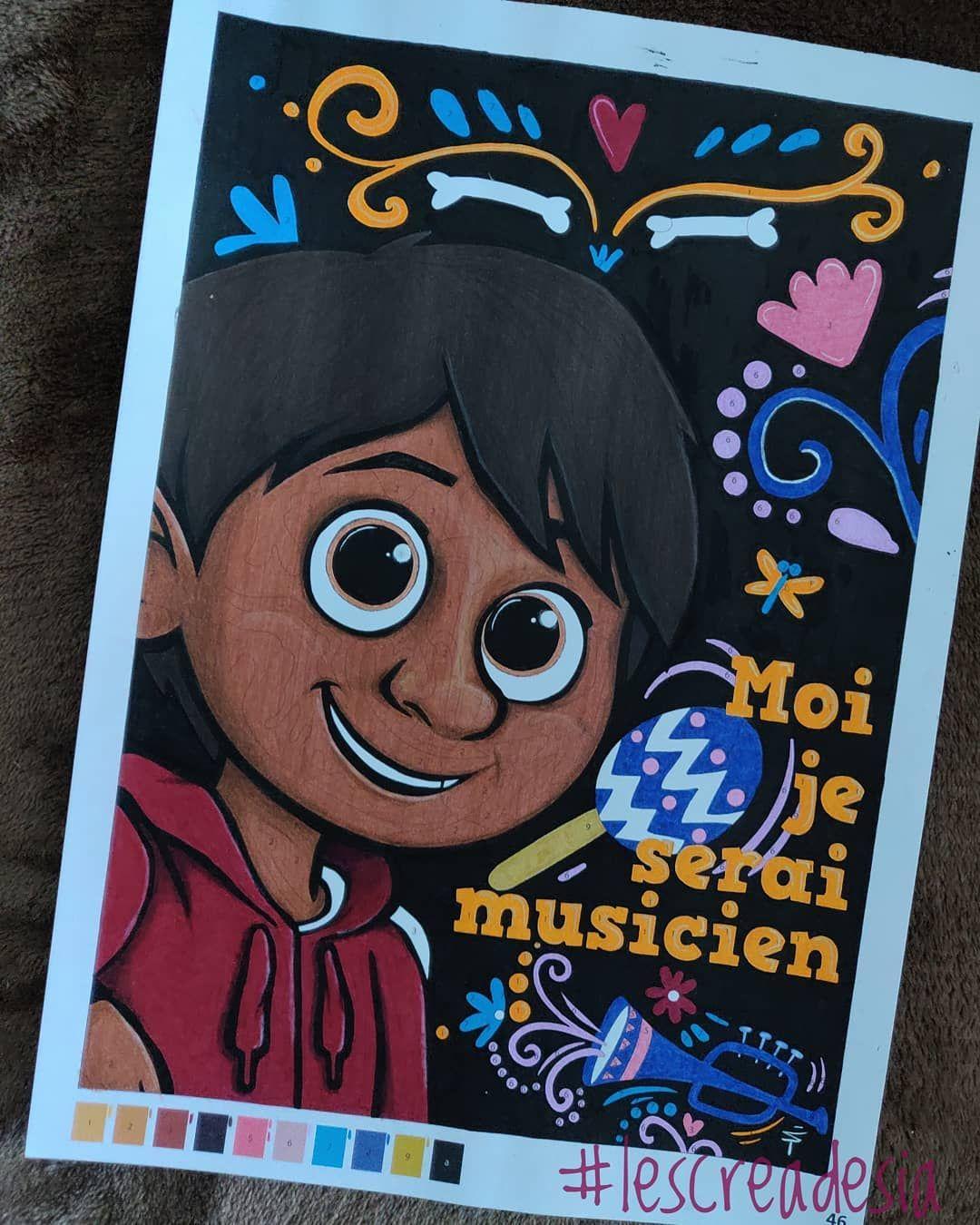 Coloriage mystère Disney Coco réalisé aux feutres et crayons de