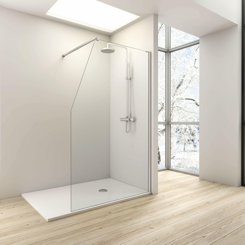 paroi de douche fixe one gamme walk in un panneau fixe avec coupe en pente verre. Black Bedroom Furniture Sets. Home Design Ideas