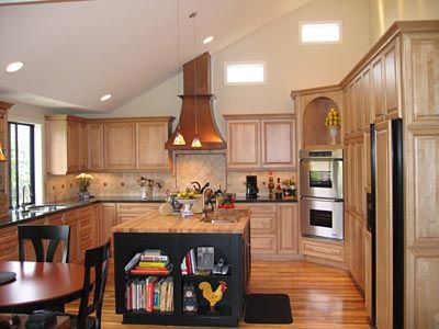 Maple Cabinets And Copper Hood Traditional Kitchen Shown With Angled Ceiling Vaulted Ceiling