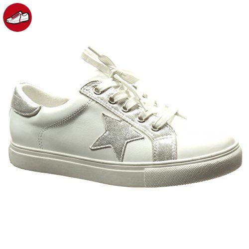 Angkorly - damen Schuhe Sneaker - Stern - glänzende flache Ferse 2.5 CM -  Silber 68
