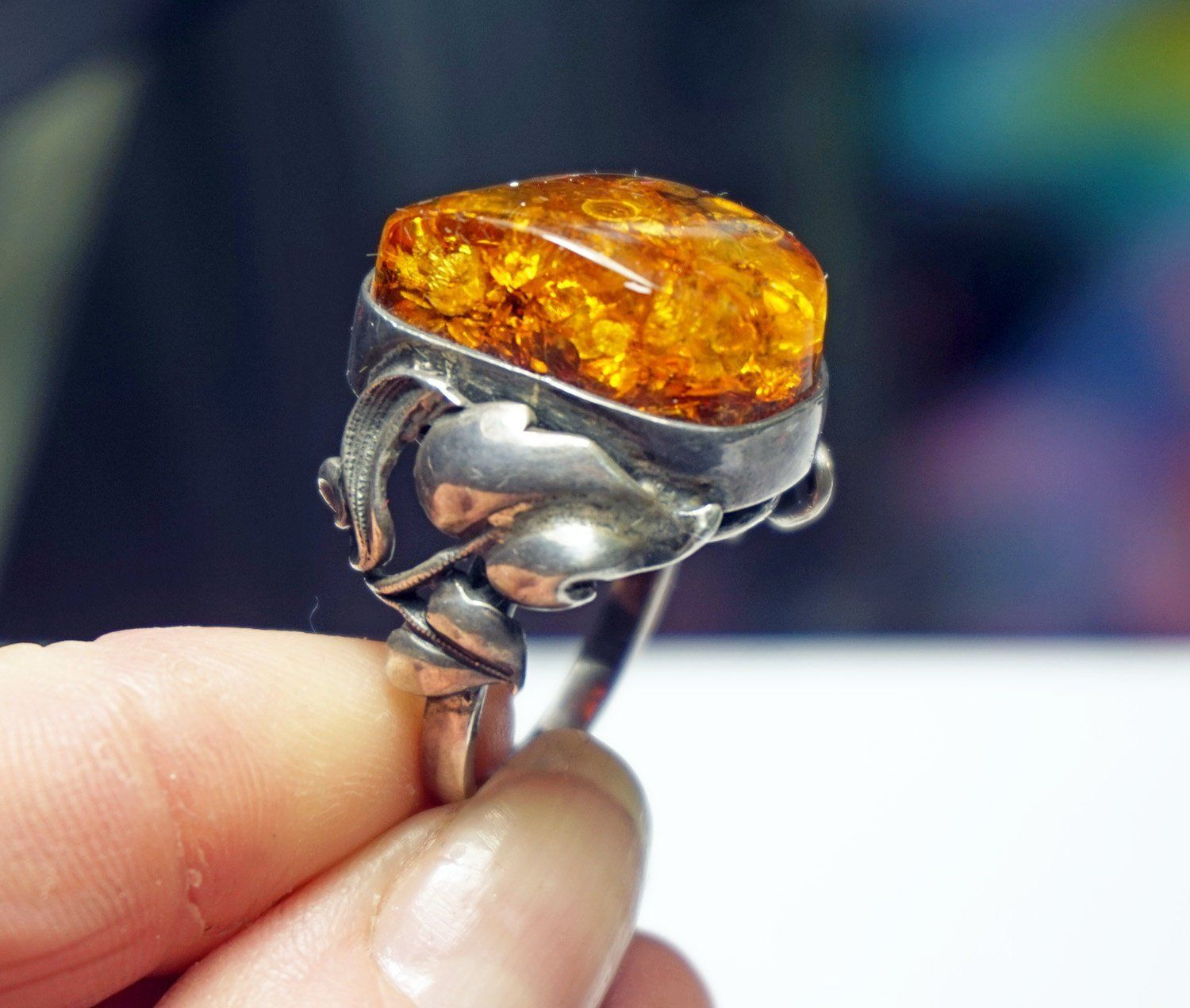 Men/'s Lady/'s Baltic Amber Cross Ring on Silver 925