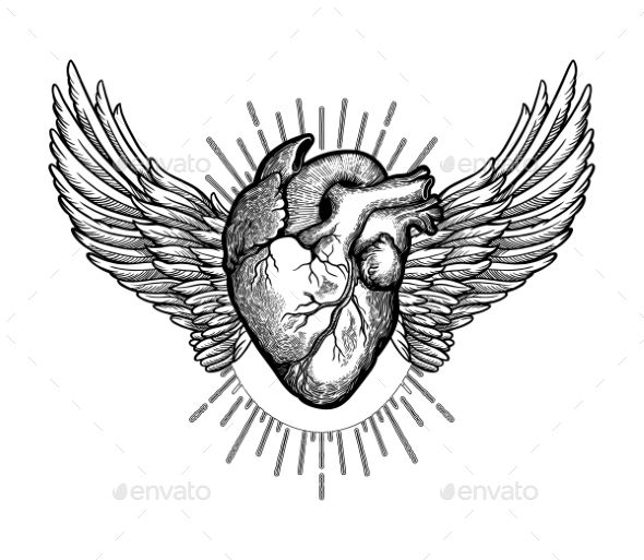 Decorative naturalistic heart with wings.Vintage gothic ...