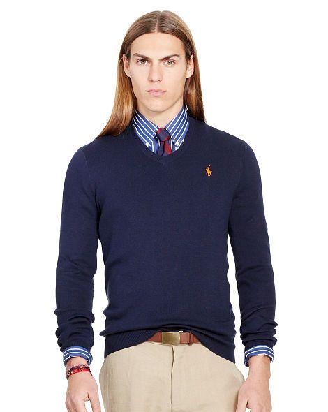 Slim-Fit Pima Cotton Sweater - Polo Ralph Lauren V-Neck - RalphLauren.