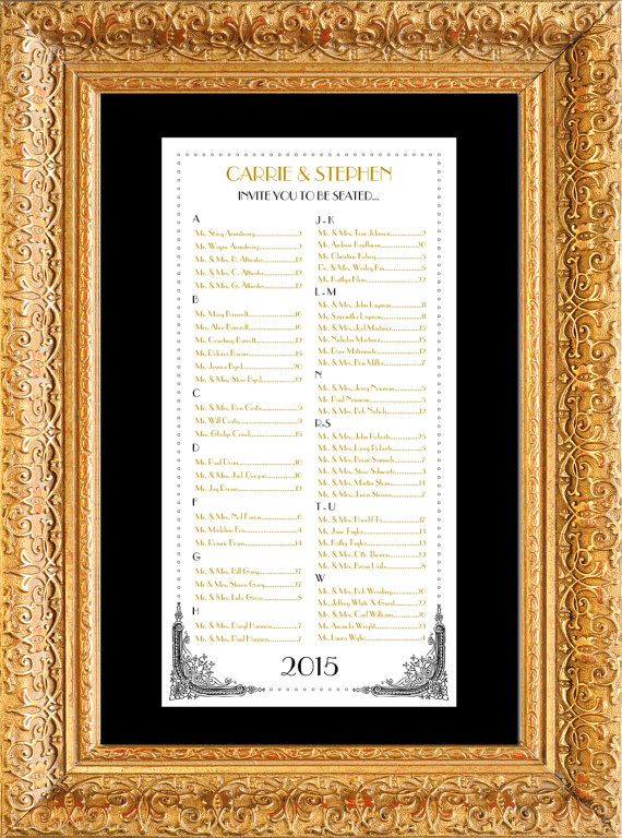 Art Deco Hollywood Glam Seating Chart Table By Paperhabitstudio Table Assignments Seating Charts Seating Chart Wedding