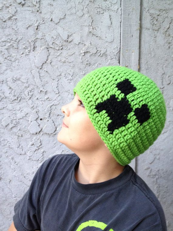 Minecraft Creeper Beanie All Sizes Crochet Pinterest Häkeln