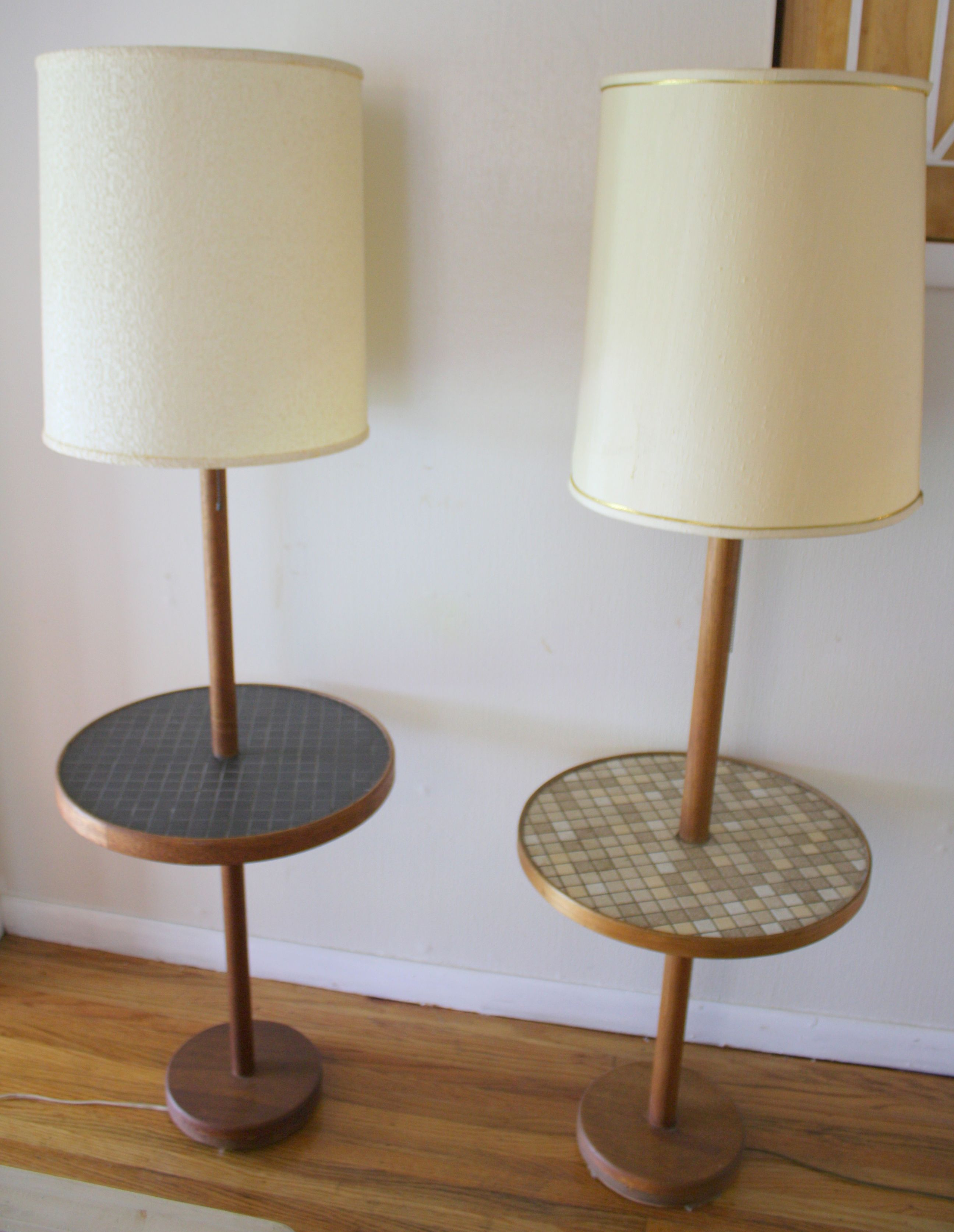 Mid century modern floor lamps with tile top tables Mid century modern flooring