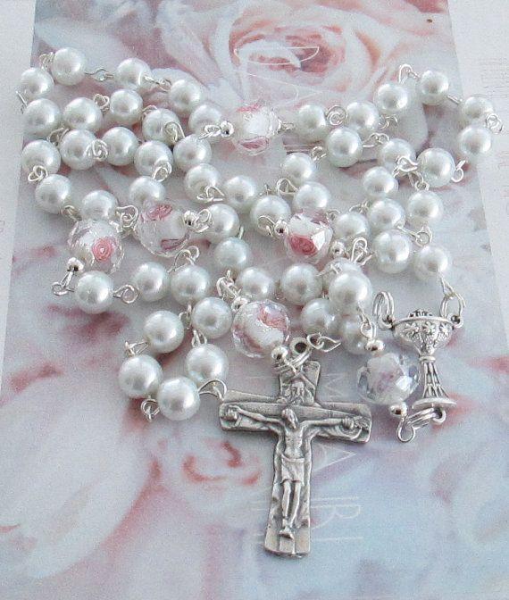 White Rosary Gift Idea Bridal by AwfyBrawJewellery on Etsy