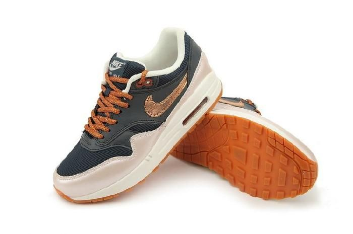 buy online 61fe8 b38f6 Worm Colors Nike Air Max 1 Sports Shoes for Women Bronze Dark Blue Online
