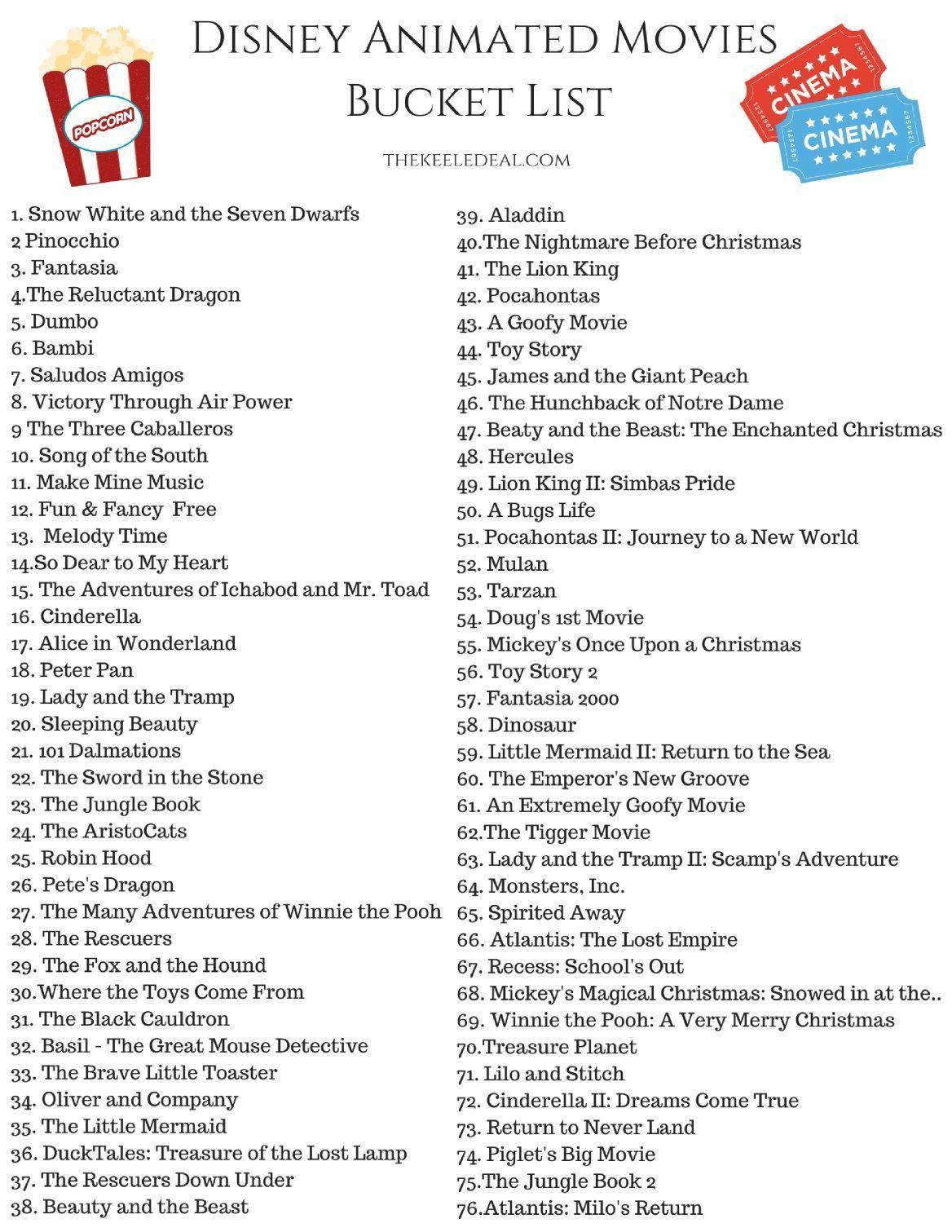 Free Printable Disney Animated Movies Bucket List disney