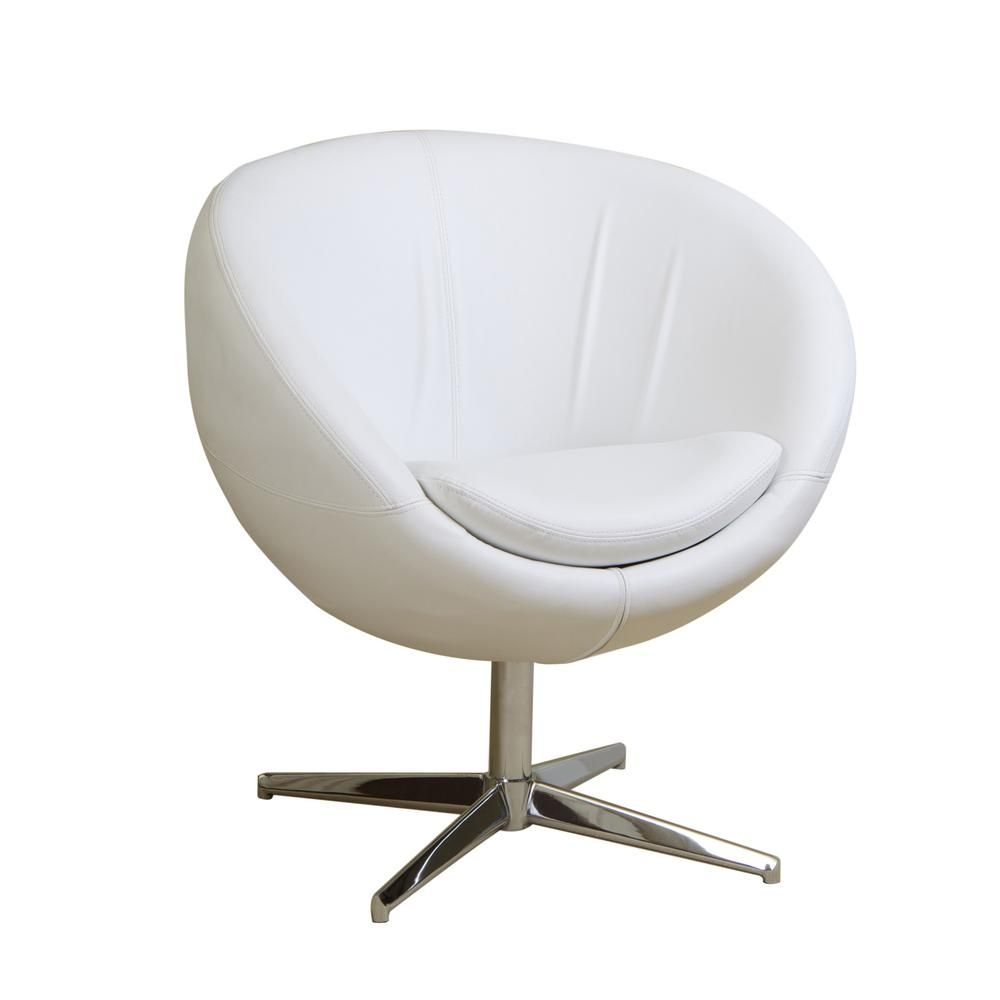 Strange Noble House Katrina White Leather Modern Roundback Chair In Uwap Interior Chair Design Uwaporg