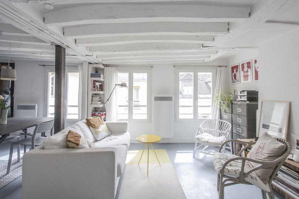 Paris  Esprit loft sur cour avec poutres apparentes Déco - deco maison ancienne avec poutre