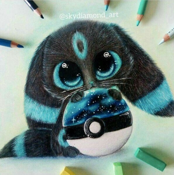Click to see the picture. Noctali Shiney cute – #cute #Noctali #Shiney – painting #drawing animals