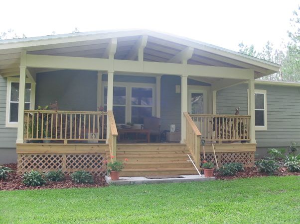 Front Porch Addition And Landscaping, One Of A Kind Front Porch Addition  With A Craftsman Style. This Manufactured (Mobile Home) Originally Came  With Tan ...