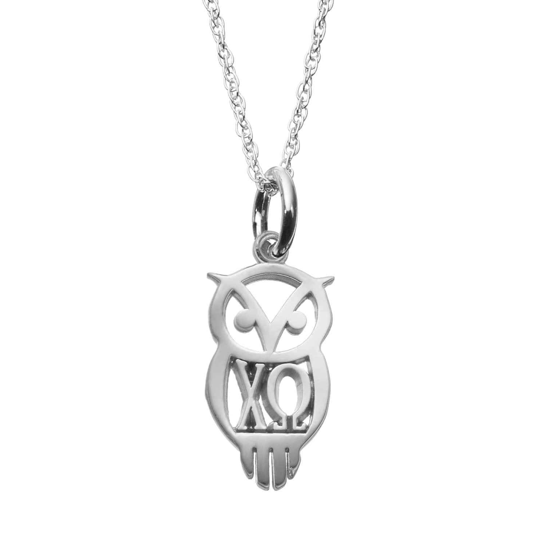 Logoart Sterling Silver Chi Omega Sorority Owl Pendant Necklace