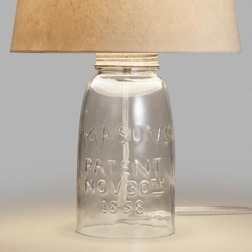 Inspired By Vintage Mason Jars Our Delightful Mason Jar Accent Lamp Base Exudes Plenty Of Charm Embossed Details Mason Jar Lighting Mason Jar Lamp Lamp Bases