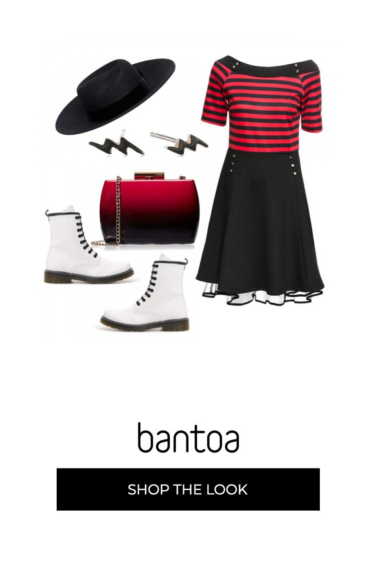 Vestito con maglia a barca rigata nera e rossa con gonna
