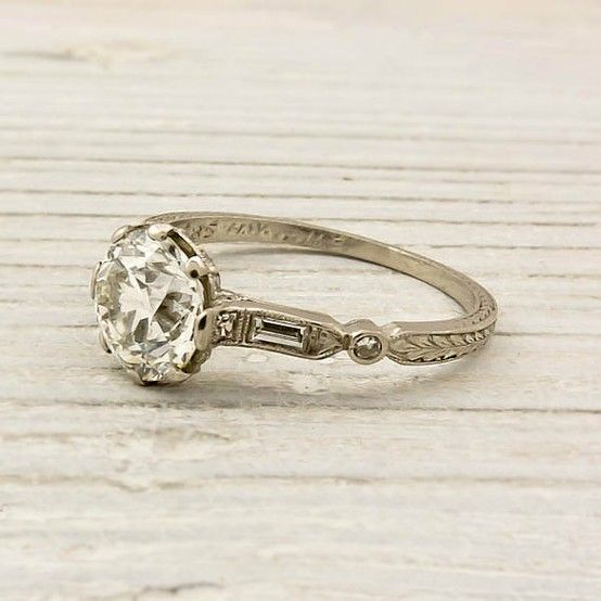 Sigh...!!!  Vintage 1.40 Carat Old European Cut Diamond Engagement Ring