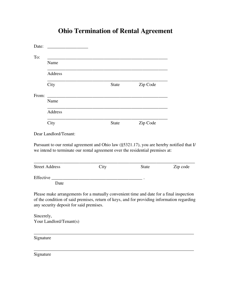 Free Ohio Lease Termination Letter Form 30 Day Notice