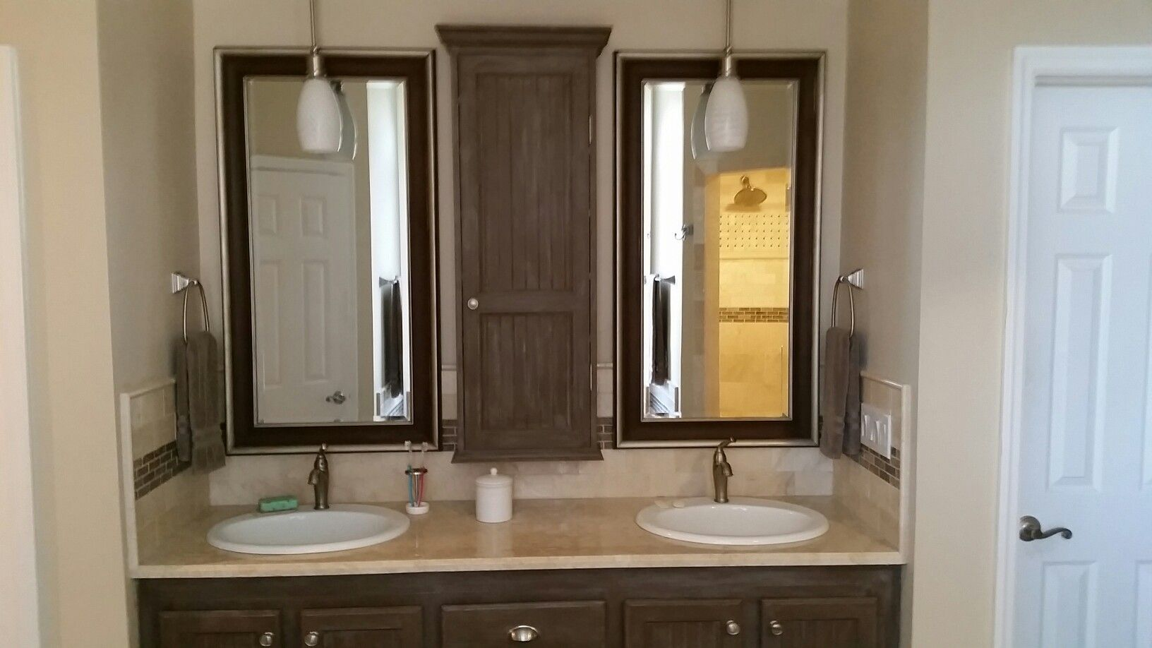 More of the bathroom remodel. Old bath had the typical wall mirror ...
