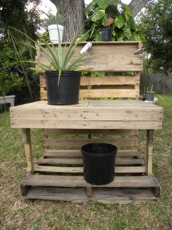 Re Purposed Reclaimed Wood Potting Stand Outdoor Furniture Sets Outdoor Decor Outdoor Furniture