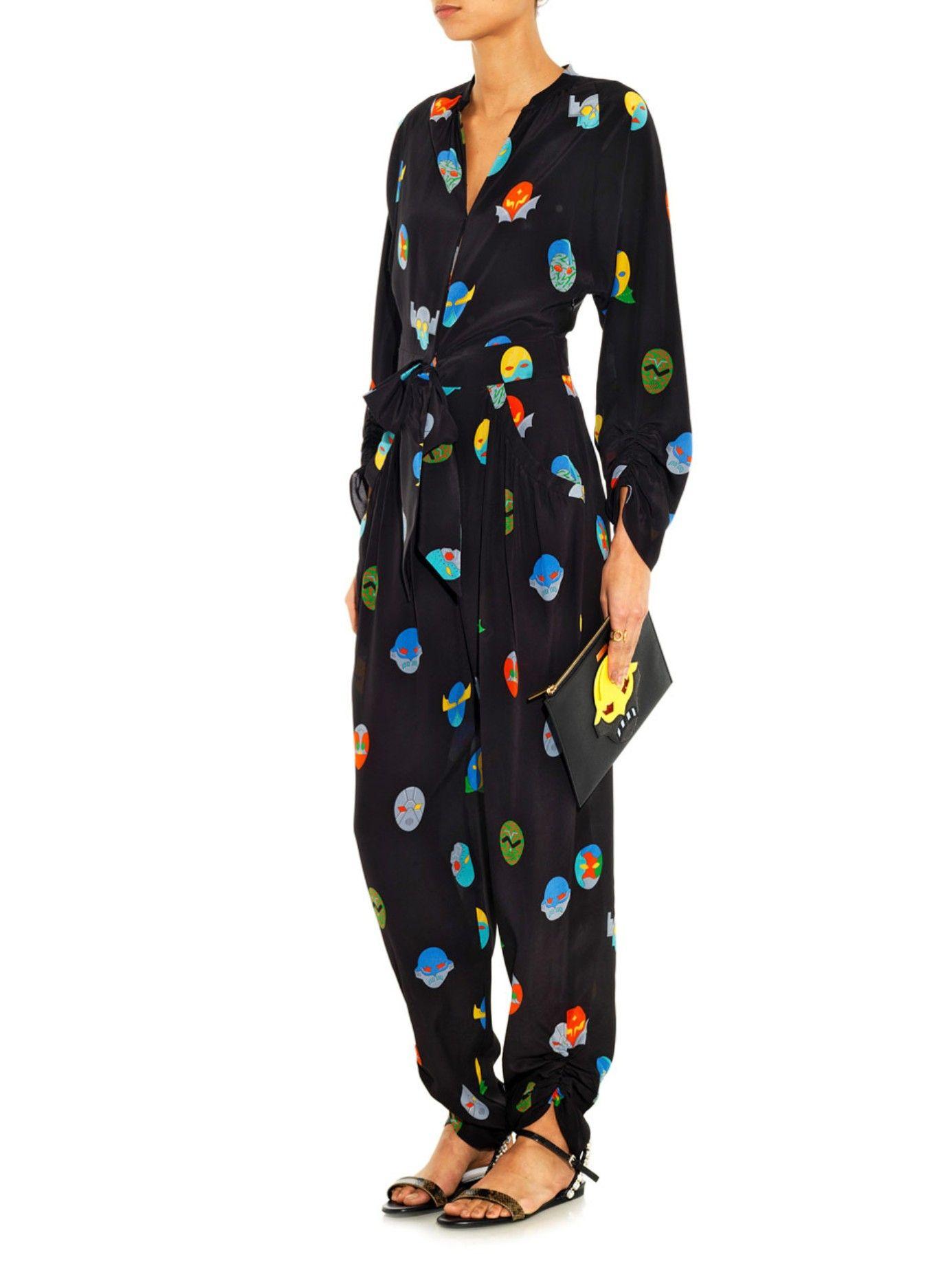 83d5d040276c Stella McCartney Black Monia Superhero Print Jumpsuit