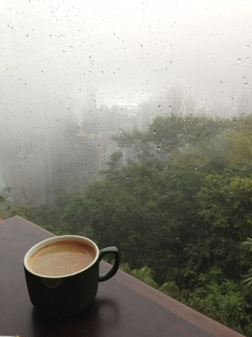 A hot cup of coffee and raining outside rfect