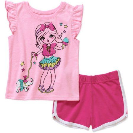 ecb602008180 Garanimals Baby Toddler Girl Short Sleeve Graphic Tee Shirt and Dolphin  Short Outfit Set - Walmart.com